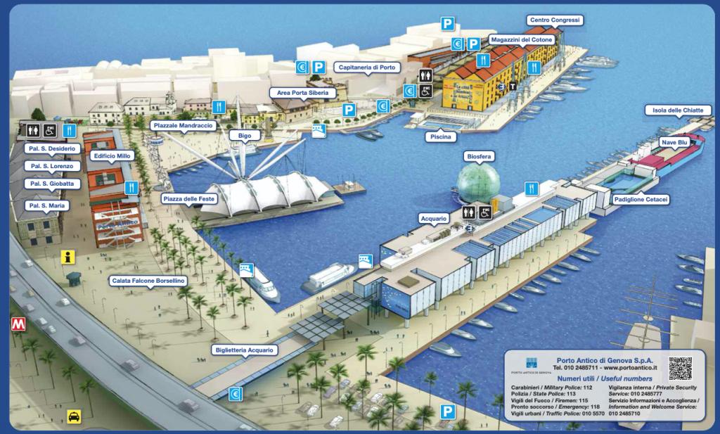 la cartina del porto antico di Genova