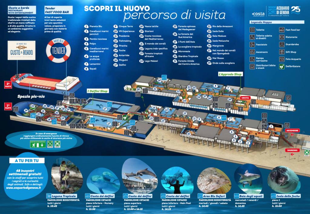 la mappa dell'acquario di genova