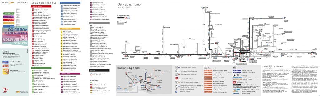 mappa bus serali e notturni di genova