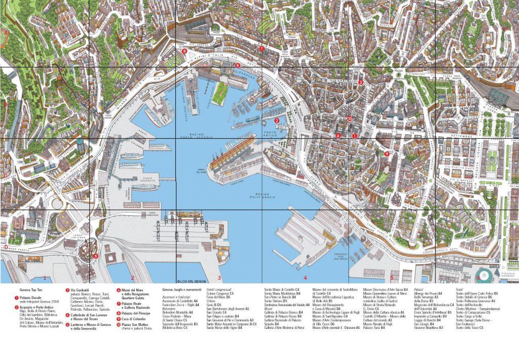 mappa di Genova con attrazioni